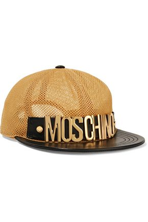 MOSCHINO Leather-trimmed mesh cap
