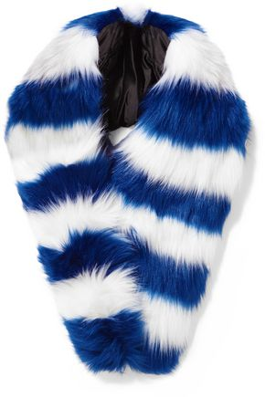 CHARLOTTE.SIMONE Candy striped faux fur scarf