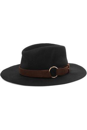 MAJE Faux suede-trimmed wool-felt hat