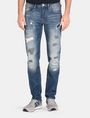 ARMANI EXCHANGE PATCH REPAIR STRAIGHT-LEG JEAN STRAIGHT FIT JEANS Man f
