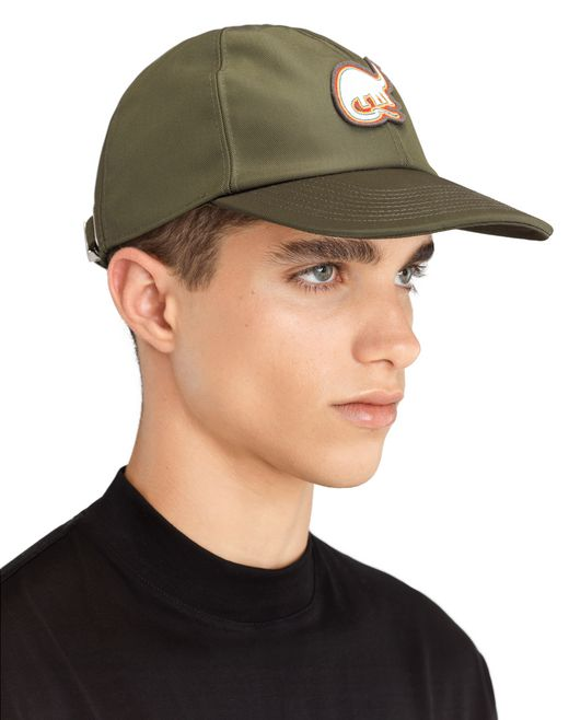 lanvin technical canvas cap with patch men