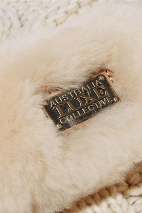 AUSTRALIA LUXE COLLECTIVE Shearling-trimmed cable-knit scarf