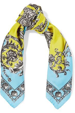 GIANNI VERSACE Printed silk-satin twill scarf