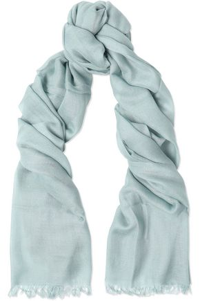 BRUNELLO CUCINELLI Fringed cashmere and silk-blend scarf
