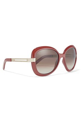 CHLOÉ Square-frame acetate and metal sunglasses