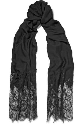 VALENTINO Chantilly lace and modal-blend scarf