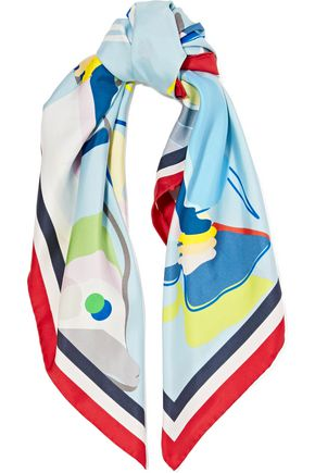 THOM BROWNE Printed silk-satin twill scarf