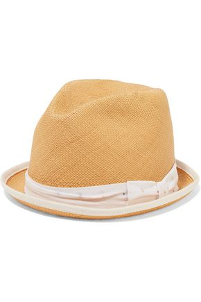 RAG & BONE Canvas-trimmed straw fedora