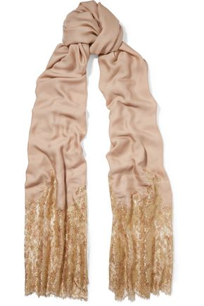 VALENTINO Metallic Chantilly lace and modal-blend scarf