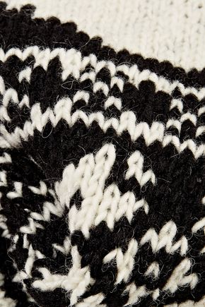 THOM BROWNE Intarsia wool and mohair-blend scarf