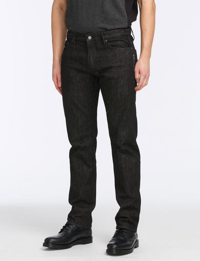 BLACK WEAVE SIDE-ZIP JEAN