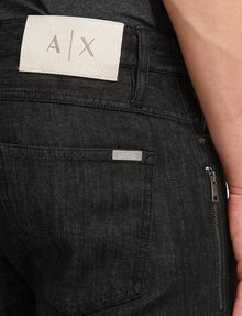 ARMANI EXCHANGE BLACK WEAVE SIDE-ZIP JEAN STRAIGHT FIT JEANS Man e