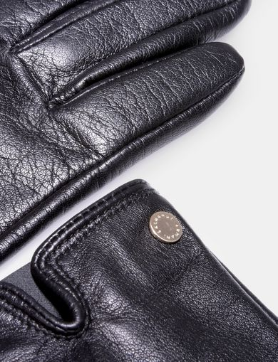 NOTCH DETAIL LEATHER GLOVES