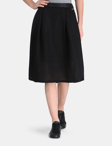 PERFORATED FULL MIDI SKIRT