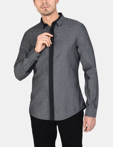 SLIM-FIT CONTRAST PLACKET SHIRT