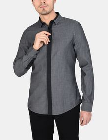 ARMANI EXCHANGE SLIM-FIT CONTRAST PLACKET SHIRT Long sleeve shirt Man f