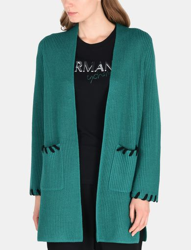 BLANKET STITCH LONGLINE WOOL CARDIGAN