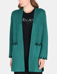 ARMANI EXCHANGE BLANKET STITCH LONGLINE WOOL CARDIGAN Layering Woman f