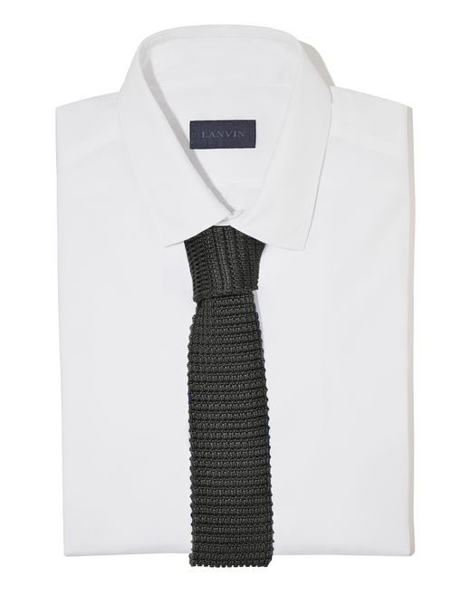 lanvin knitted black silk tie men
