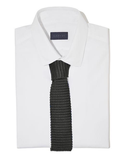 lanvin cravate en soie tricotée noire homme