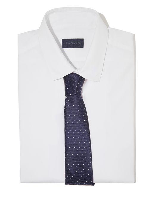 lanvin cravate bleu marine pois caviar  homme