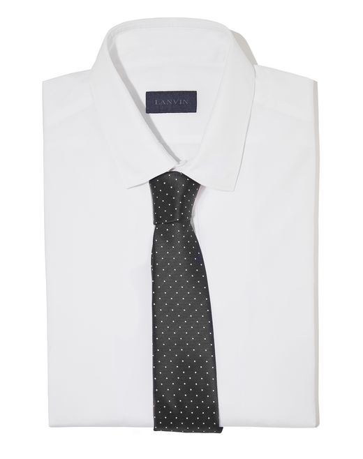 lanvin black caviar-dotted tie men