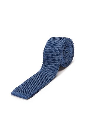 KNITTED BLUE SILK TIE
