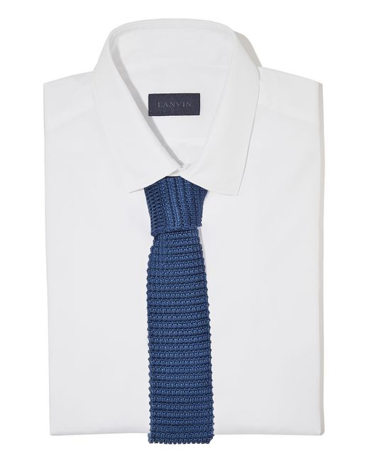 lanvin knitted blue silk tie men
