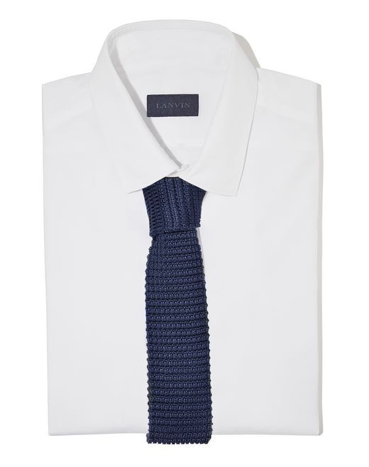 lanvin knitted navy blue silk tie men