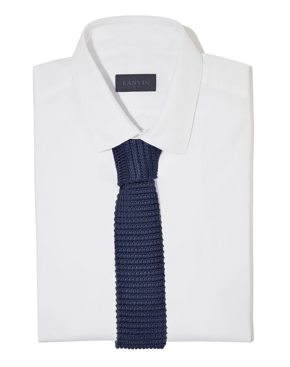 KNITTED NAVY BLUE SILK TIE - Lanvin