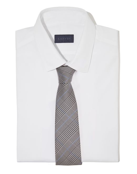 lanvin blue prince of wales tie men