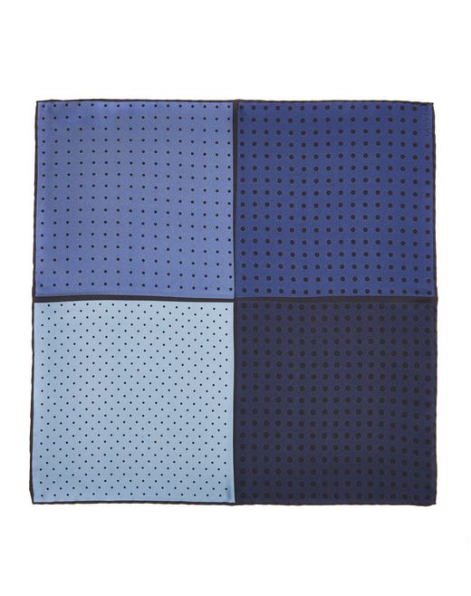 lanvin navy blue dotted pocket handkerchief men