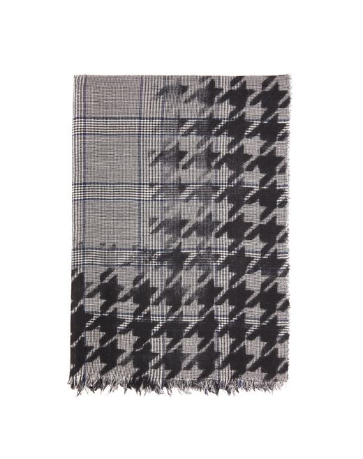 GRAY PRINCE OF WALES SCARF - Lanvin