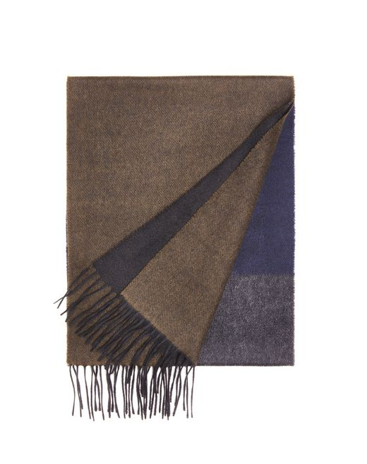 lanvin khaki striped scarf men