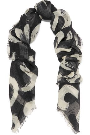 PROENZA SCHOULER Printed wool, cotton, silk and cashmere-blend gauze scarf