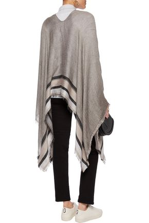 RAG & BONE Striped open-knit poncho