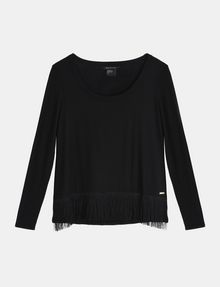 ARMANI EXCHANGE FRINGE HEM LAYERING TEE L/S Knit Top Woman b