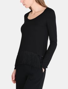 ARMANI EXCHANGE FRINGE HEM LAYERING TEE L/S Knit Top Woman d