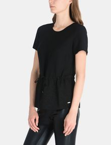 ARMANI EXCHANGE PIECED GLITTER DRAWSTRING TEE S/S Woven Top Woman d