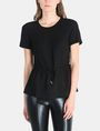 ARMANI EXCHANGE PIECED GLITTER DRAWSTRING TEE S/S Woven Top Woman f