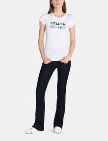 ARMANI EXCHANGE METALLIC STENCIL TEE Logo T-shirt Woman a