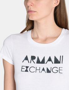 ARMANI EXCHANGE METALLIC STENCIL TEE Logo T-shirt Woman e