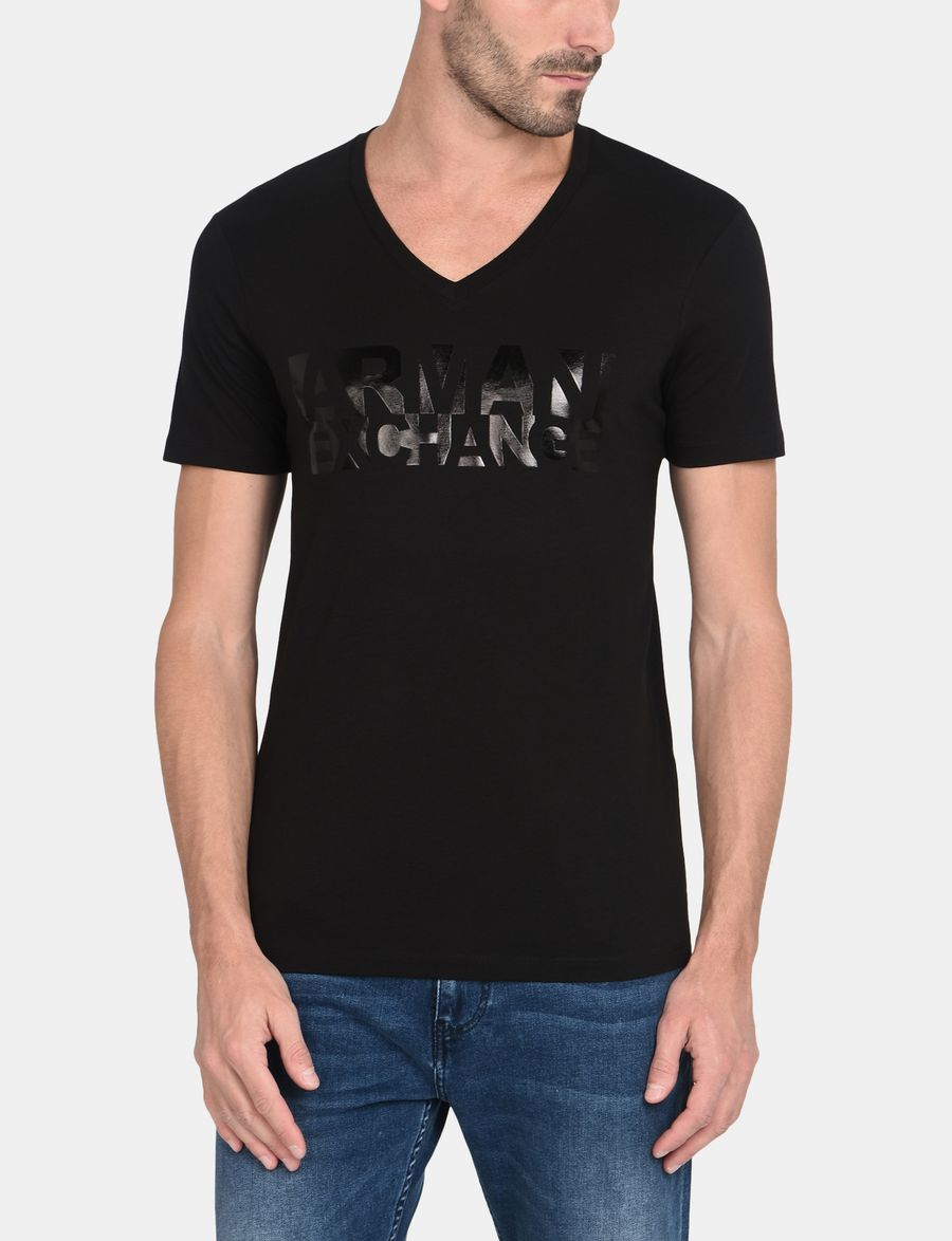 Black t shirt armani - Armani Exchange Reflective Tonal Logo V Neck Man Front
