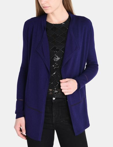 SHEER DETAIL CASCADE CARDIGAN