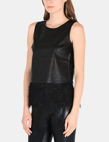 ARMANI EXCHANGE FAUX-LEATHER AND FRINGE TOP S/L Woven Top Woman d