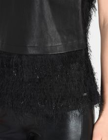ARMANI EXCHANGE FAUX-LEATHER AND FRINGE TOP S/L Woven Top Woman e