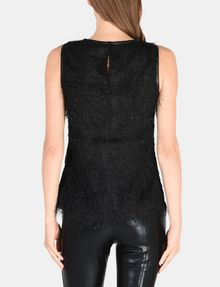 ARMANI EXCHANGE FAUX-LEATHER AND FRINGE TOP S/L Woven Top Woman r