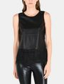 ARMANI EXCHANGE FAUX-LEATHER AND FRINGE TOP S/L Woven Top Woman f