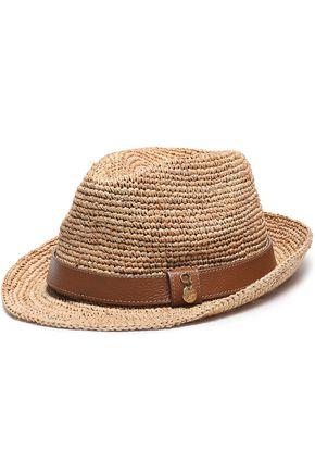 MELISSA ODABASH Cameron leather-trimmed raffia Panama hat