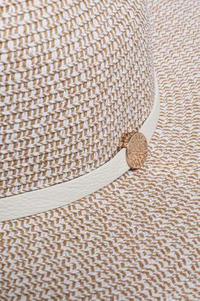 ... MELISSA ODABASH Colette leather-trimmed straw sunhat 80ad4e77173